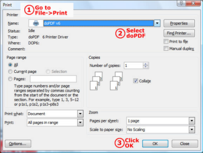 Convert HTML to PDF with doPDF
