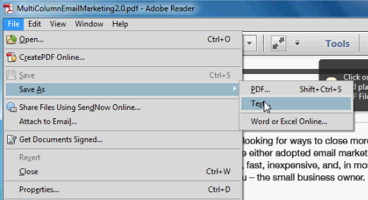 adobe pdf to text